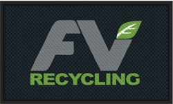 "3' x 5' (35"" x 56"") Superscrape Impressions FV RECYCLING  Rubber Logo Mat"