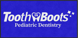 "3' x 6 (35"" x 69"") Digiprint Classic TOOTH IN BOOTS Indoor Logo Mat"