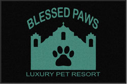 "4' x 6'(45"" x 69"") Waterhog Impressions HD BLESSED PAWS Indoor/Outdoor Logo Mat"