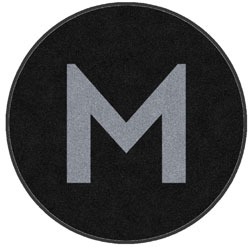 "6' Round (68"" inches) Digiprint HD Custom Shape M LOGO  Indoor Logo Mat"