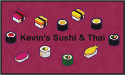 "3' x 5' (35"" x 59"") Digiprint Classic  KEVIN'S SUSHI & THAI Indoor Logo Mat"