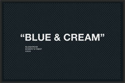 "4' x 6 (45"" x 69"") Superscrape Impressions BLUE & CREAM   Rubber Logo mat"